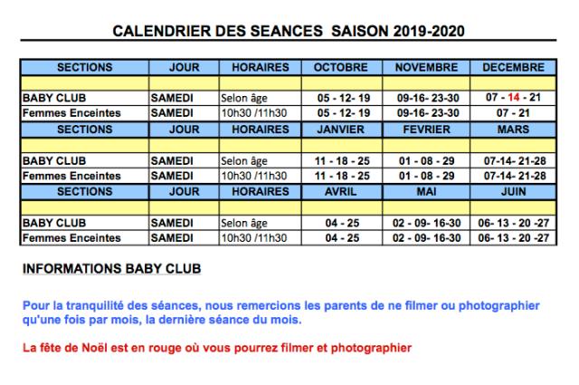 calendrier bébé nageur